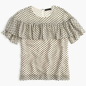 J.Crew edie top in textured silk polka clip dot
